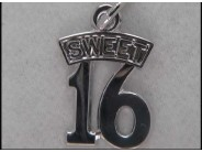Sterling Sweet 16 Charm
