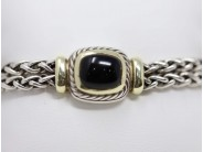 Lady's 14k Yellow Gold And Sterling Onyx Bracelet