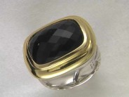 Sterling & 18K Yellow Gold Black Onyx Ring